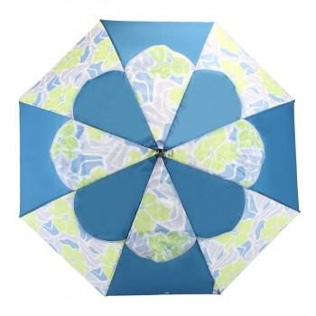 Parapluie Passvent série limitée bleu et fleurs d'hibiscus vertes