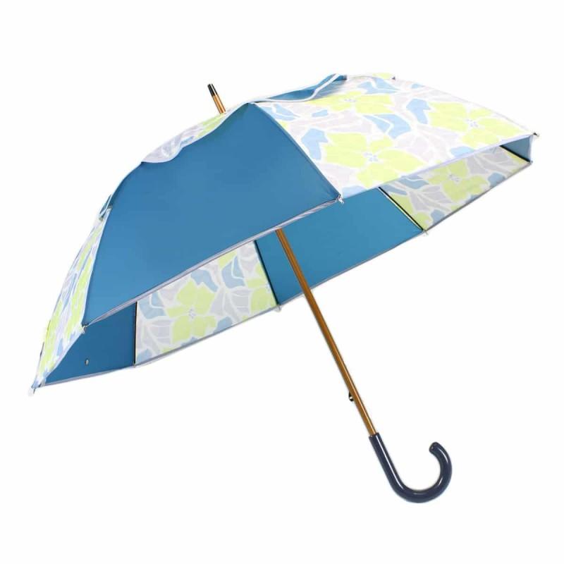 Parapluie Passvent bleu et fleurs d'hibiscus vertes