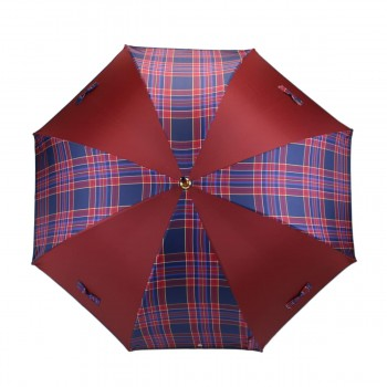 Parapluie Petits Nœuds bordeaux et écossais bleu long