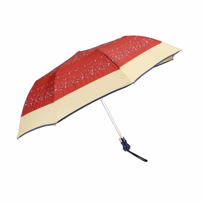 Parapluie pliant bordeaux fleuri et bande beige