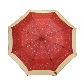 Parapluie Imprimé rouge fleuri et bande beige pliant automatique