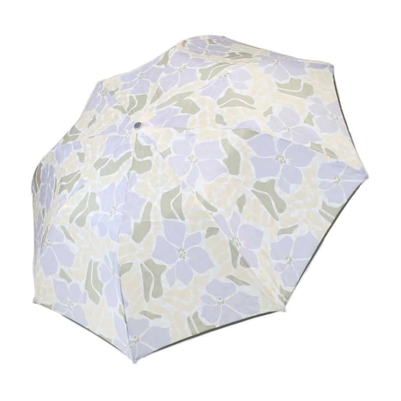 Parapluie Imprimé de fleurs d'hibiscus beiges et violettes pliant automatique