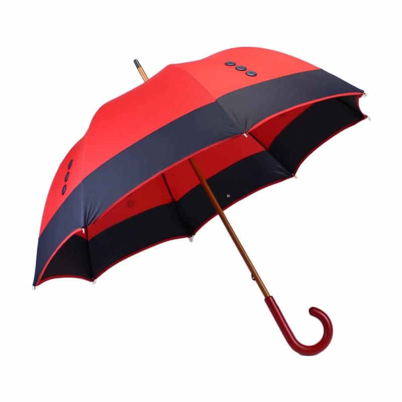 Parapluie long boutons Bleu Marine sur toile rouge
