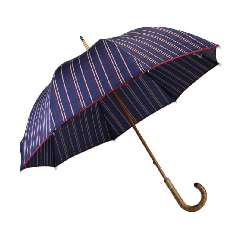 Parapluie long tissé tartan bleu nuit