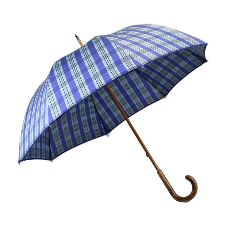 Parapluie long tissé tartan bleu azur et argent
