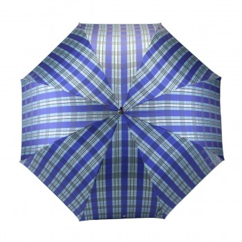 Parapluie série limitée tartan bleu azur et argent long