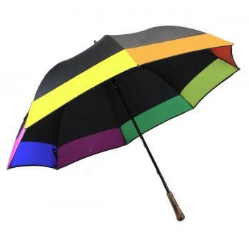 Parapluie noir et bord multicolore golf