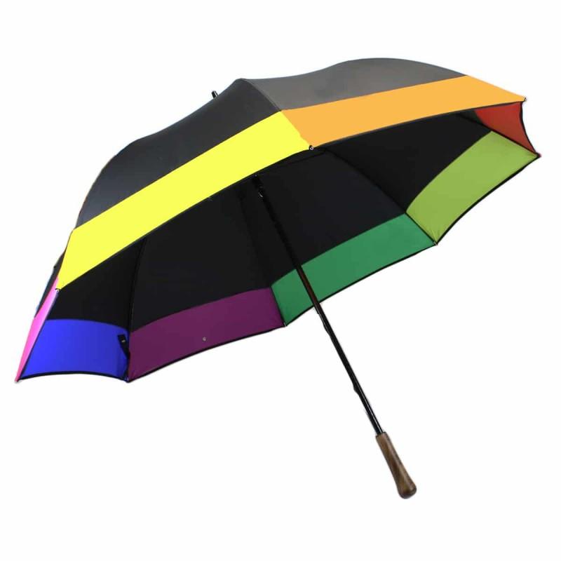 Black golf umbrella with multicoloured rim