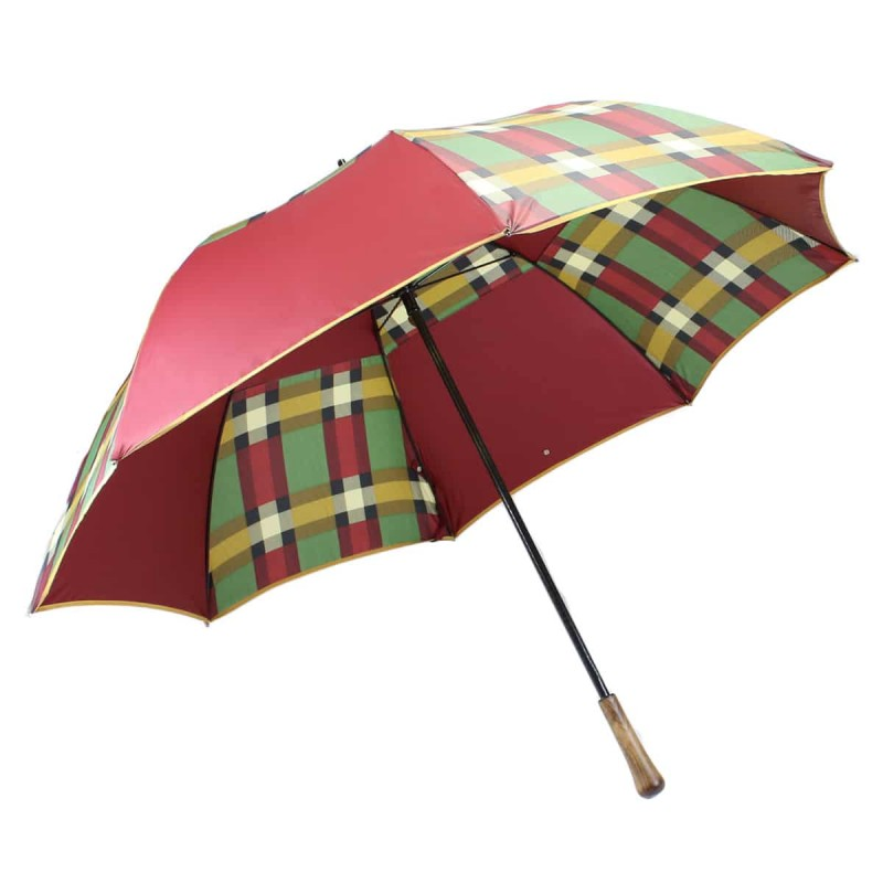 Bordeaux and tartan golf umbrella
