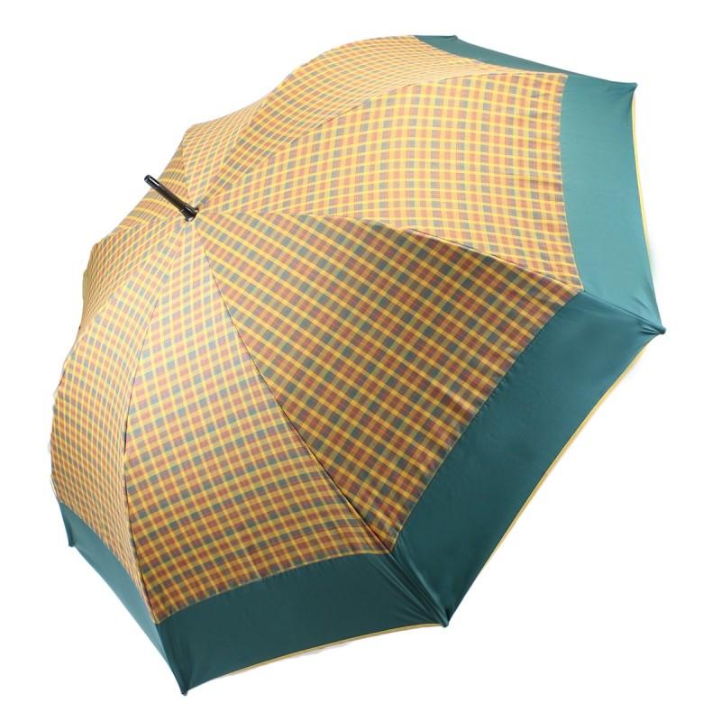 Parapluie écossais moutarde et bord vert golf