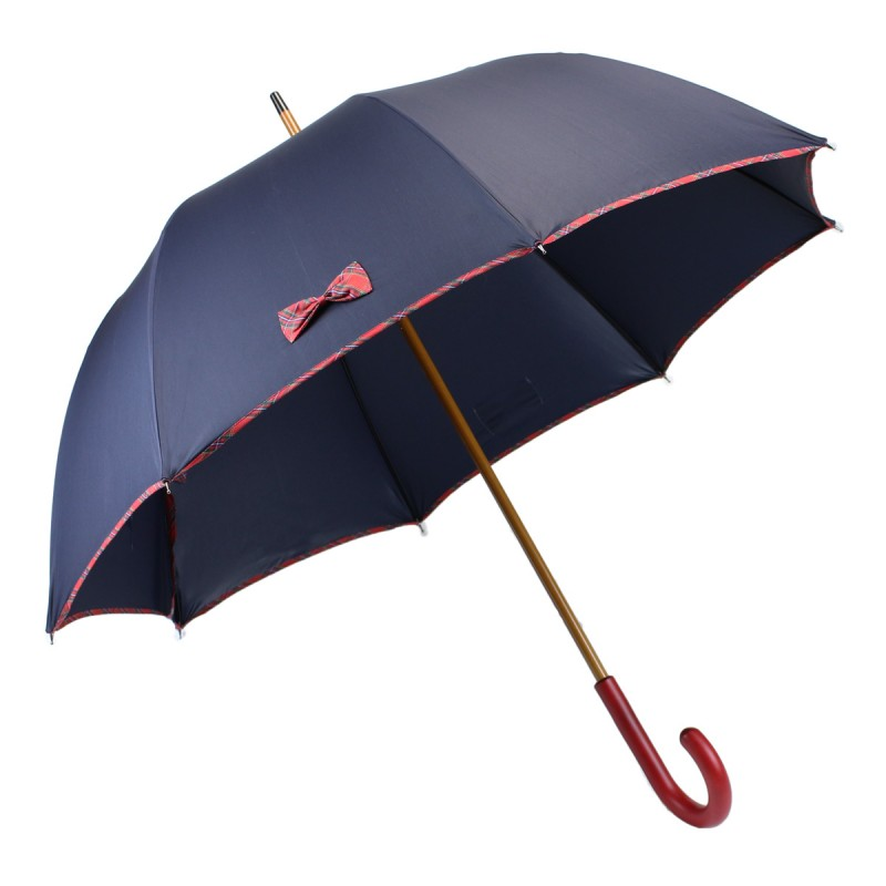 Navy blue long umbrella with small tartan knots