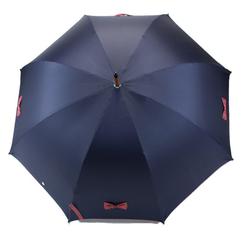 Parapluie Petits Nœuds bleu marine et écossais rouge long