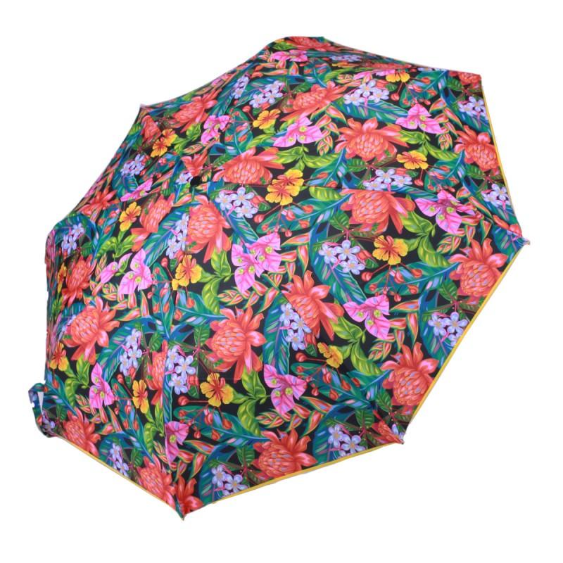 Parapluie Imprimé fleurs exotiques mini léger ouverture manuelle