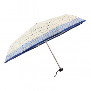 Parapluie satiné beige et bleu mini léger ouverture manuelle