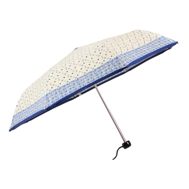 Beige and blue satin mini umbrella