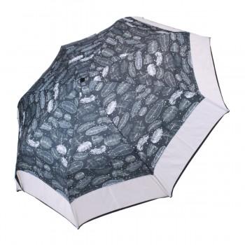 Parapluie Imprimé plumes et bande grise mini léger ouverture manuelle