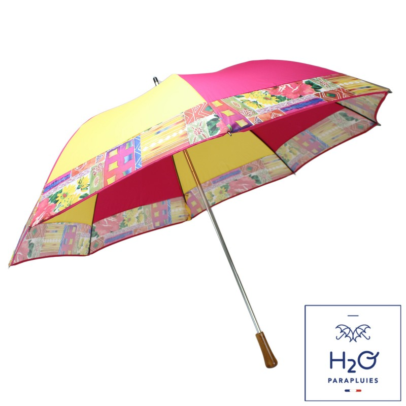 Pink, yellow and flowery mill golf umbrella