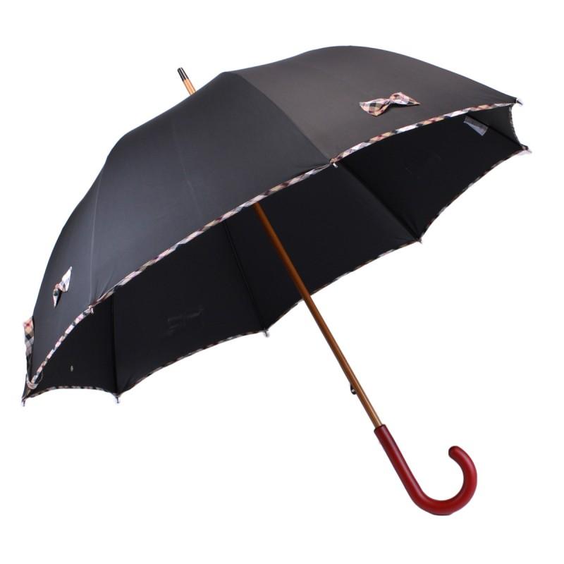 Langer schwarzer Regenschirm und kleine beige Schottenkaro-Knoten