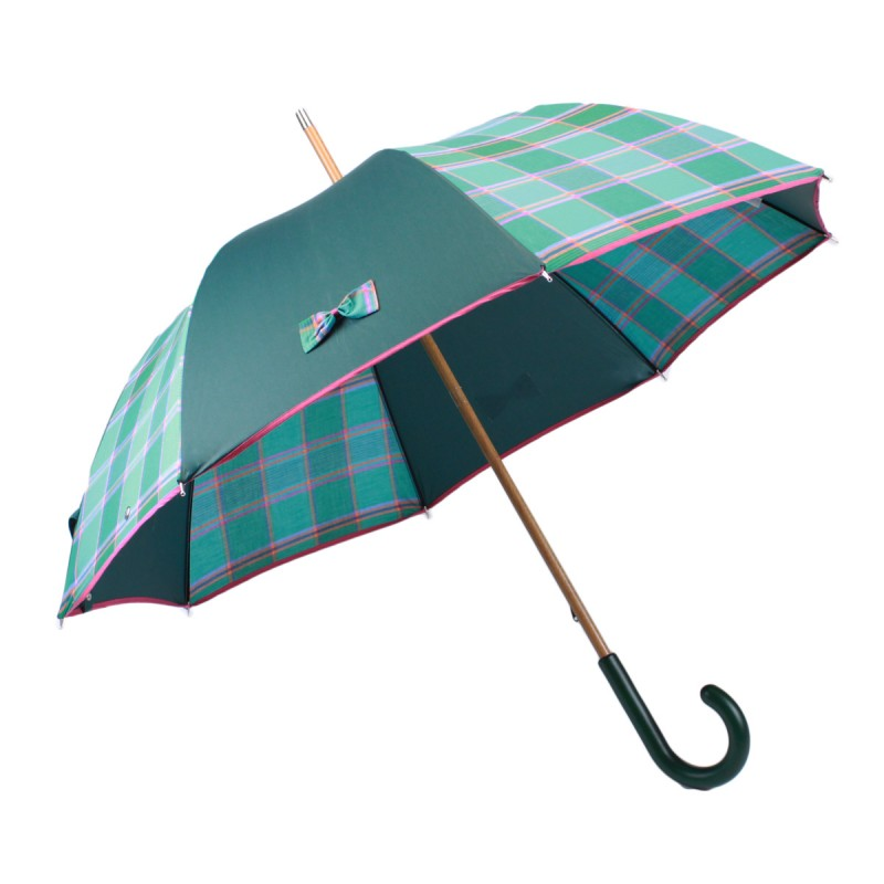 Green long umbrella and madras with small knots