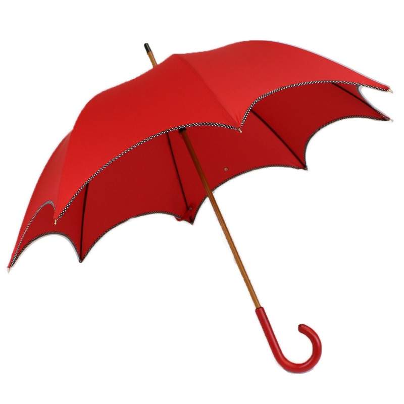 Bias red chic long umbrella with polka dots