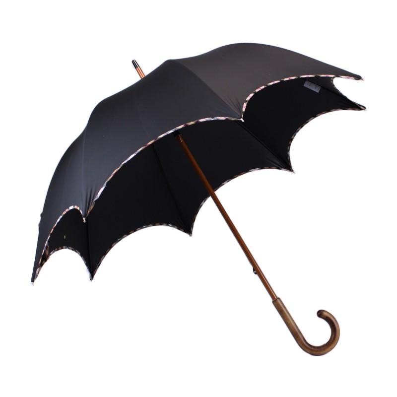 Black chic long umbrella with beige tartan bias