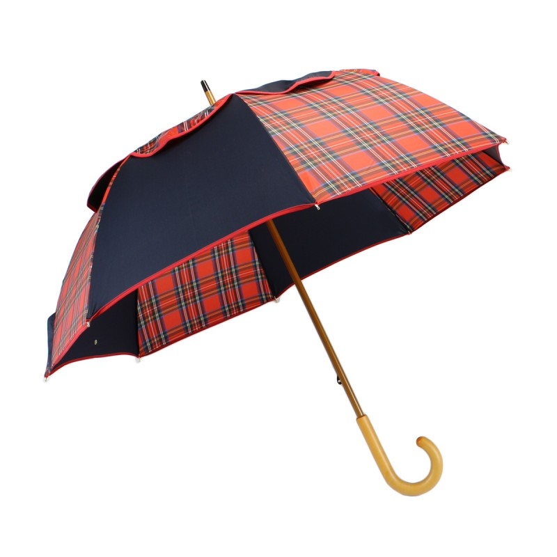 Passiver Regenschirm marineblau und Schottische Tartanrot