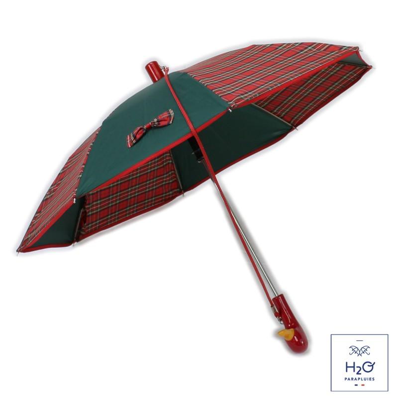 Parapluie Enfant vert écossais rouge et nœud
