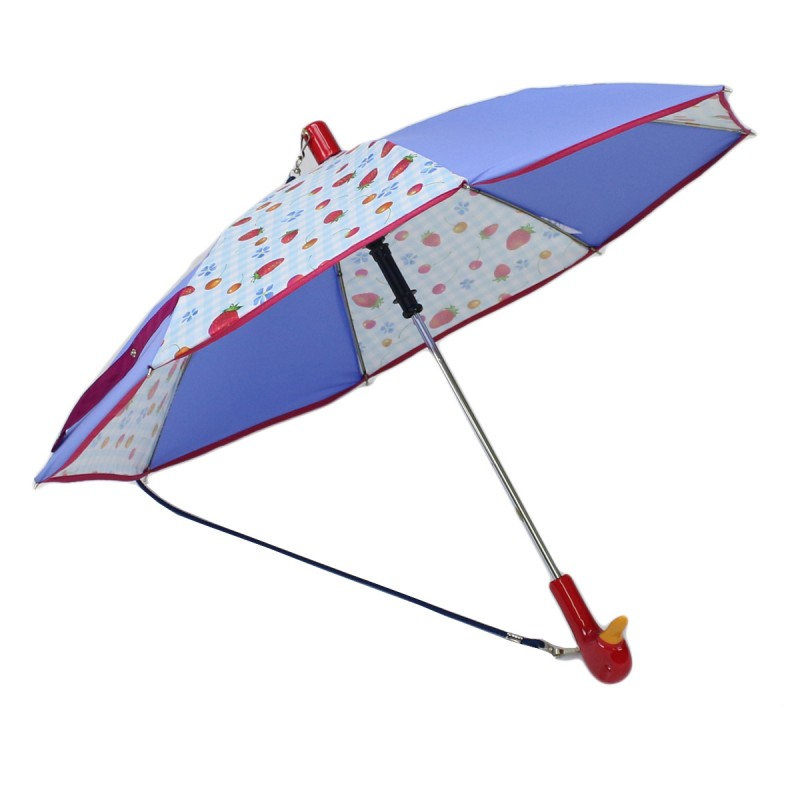 Light blue and strawberry cherry print children's umbrella