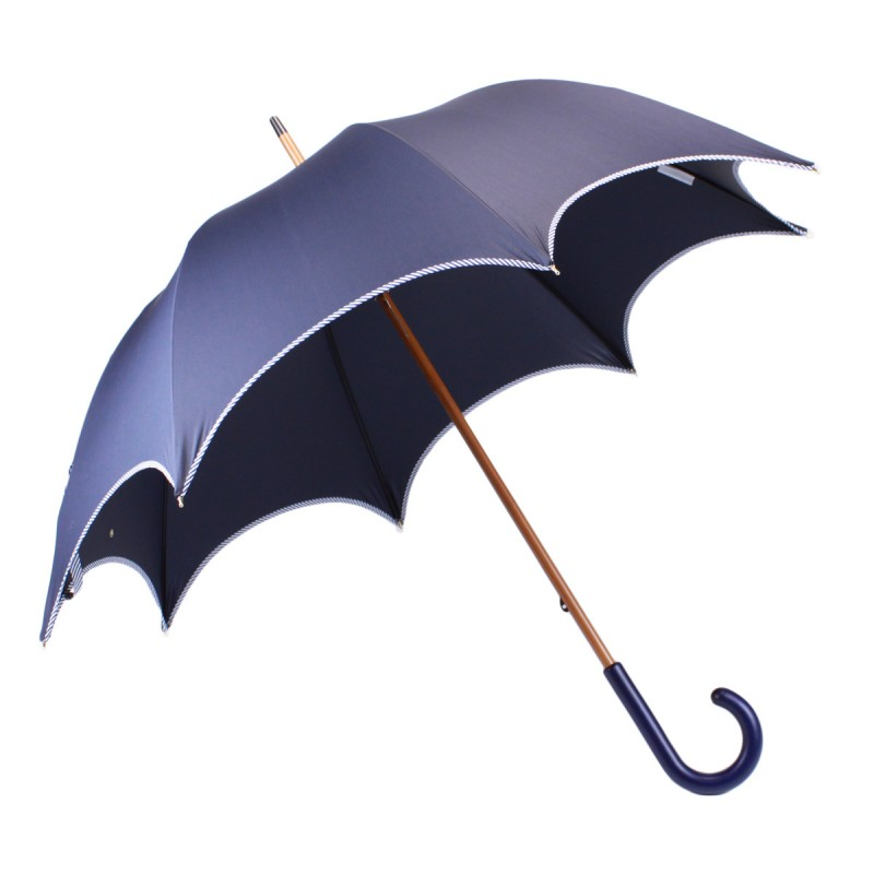 Blue chic long umbrella with navy blue bias