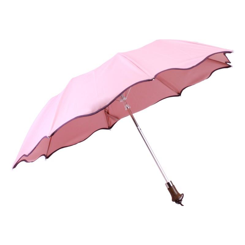 Plum bias pink folding umbrella, wave shape