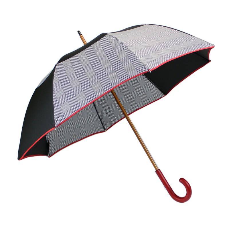 Parapluie long vice versa noir et pied de poule