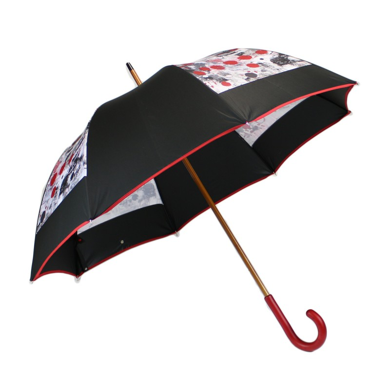 Long umbrella with black mill and abstract print