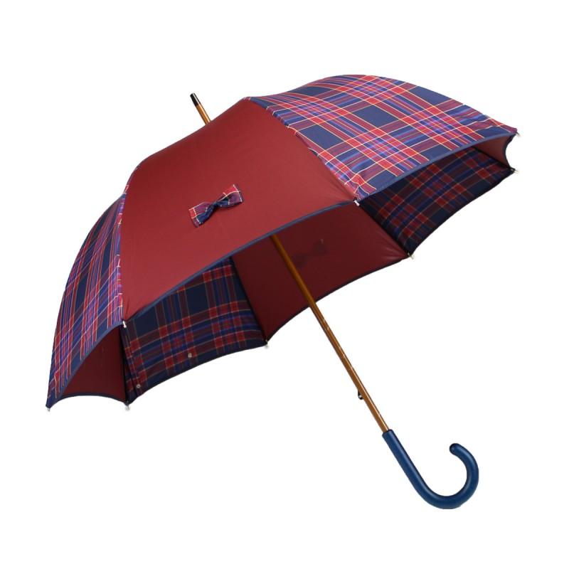 Parapluie long bordeaux et petits nœuds écossais