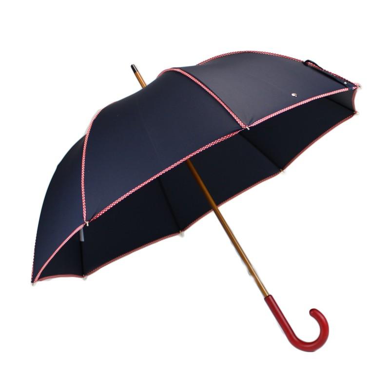 Elegant navy blue and red polka dot long umbrella
