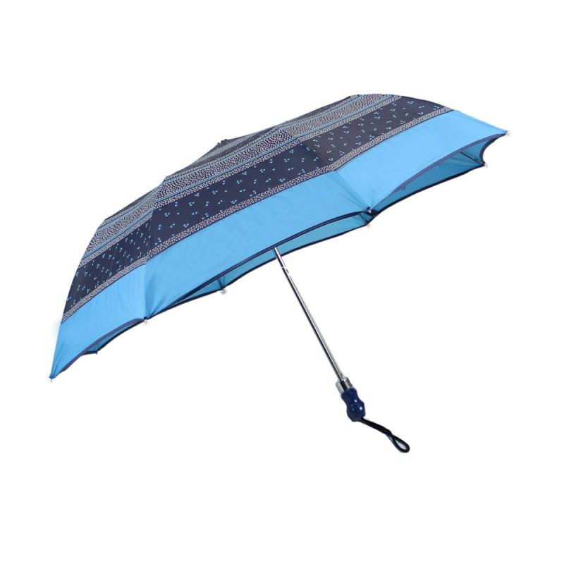 Parapluie pliant bleu géométrique