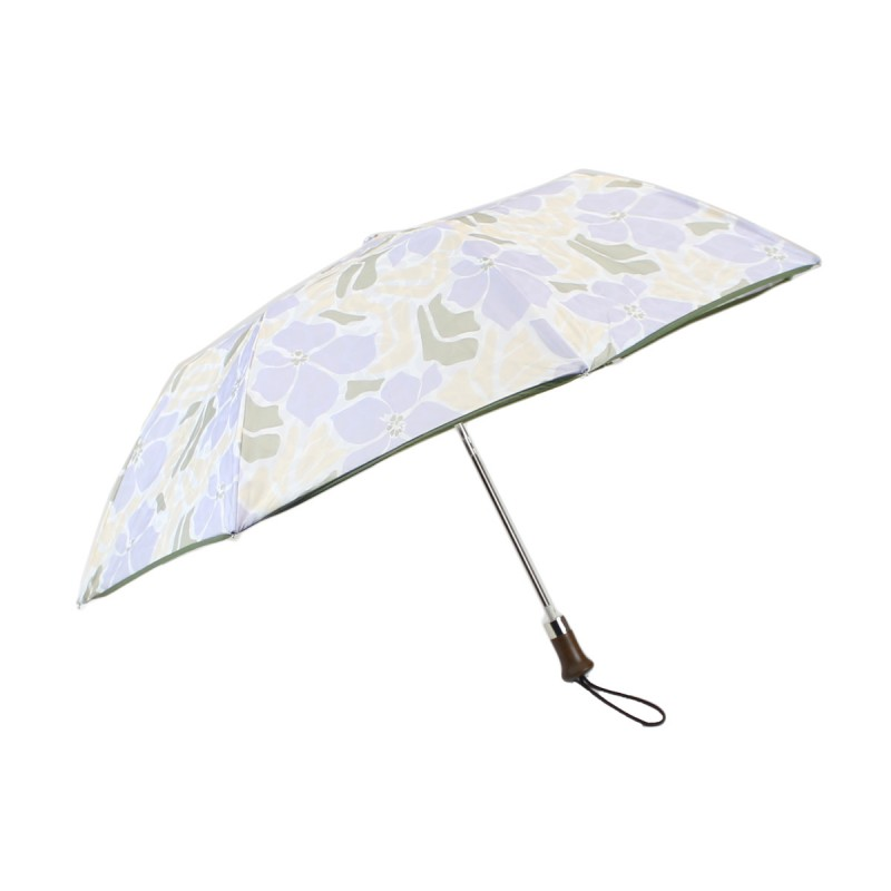 Folding umbrella with beige and violet hibiscus flowers