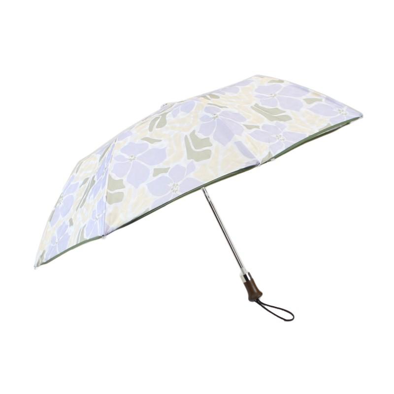 Parapluie pliant fleurs d'hibiscus beiges et violettes