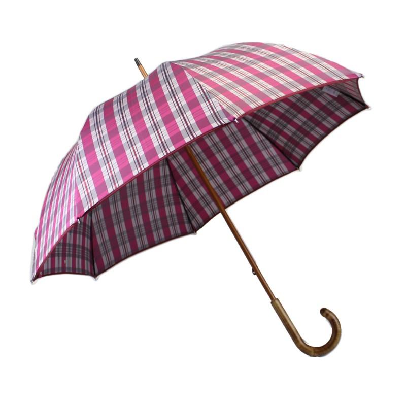 Pink tartan woven long umbrella