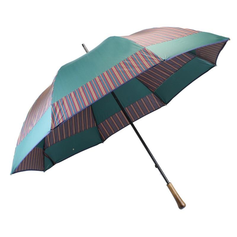 Parapluie de golf moulin rayé bordeaux et vert