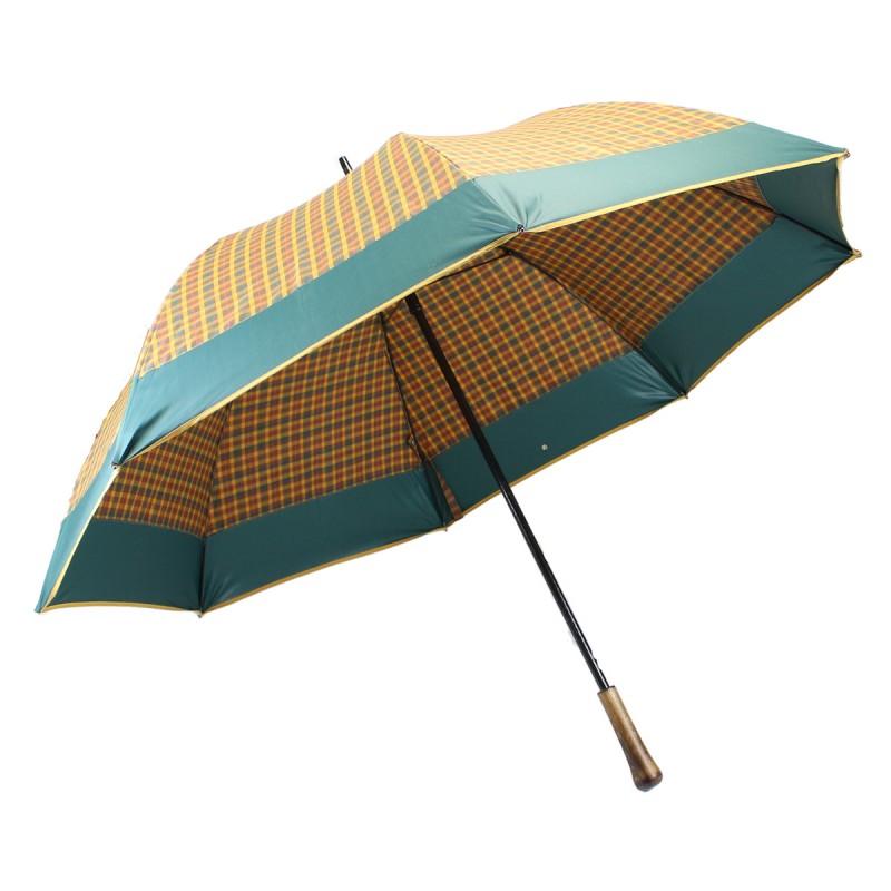 Parapluie de golf écossais moutarde et bord vert