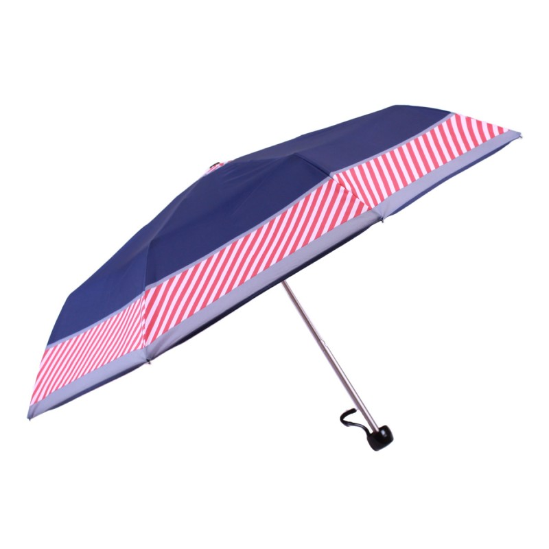Mini umbrella with red and navy blue stripes