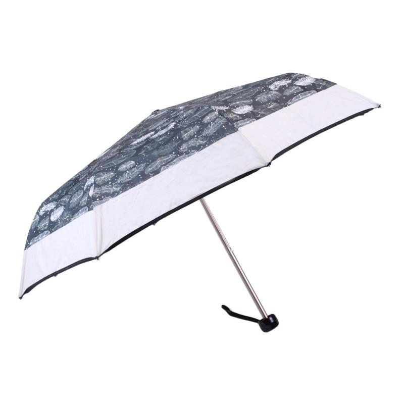 Umbrella with mini feathers and grey stripe