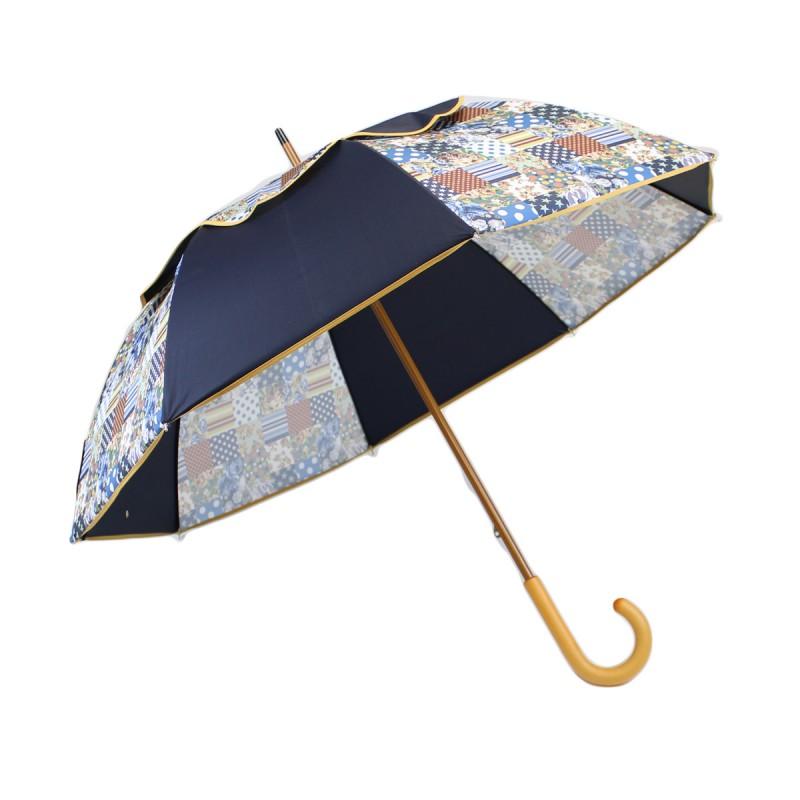 Parapluie Passvent bleu marine et effet patchwork
