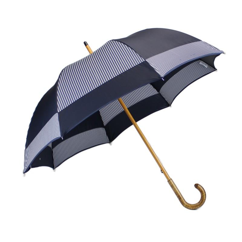Navy blue and gingham half golf mill umbrella