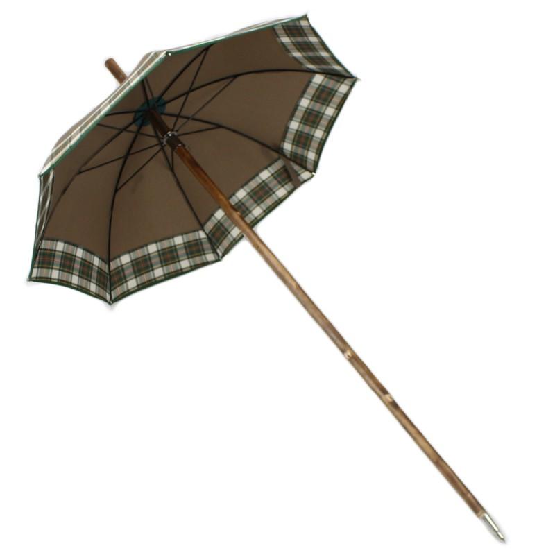 Parapluie Canapluie marron uni et carreaux verts