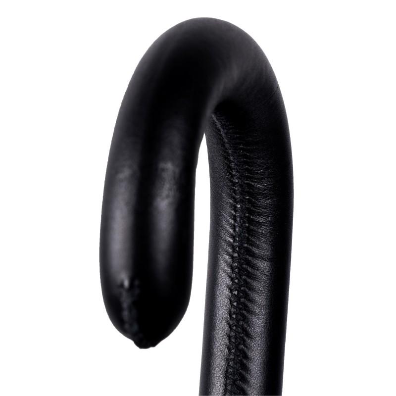 Poignée cuir noir surpiqûre noire