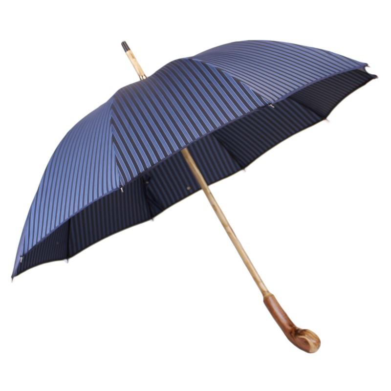 Parapluie anglais racine jacquard rayé bleu