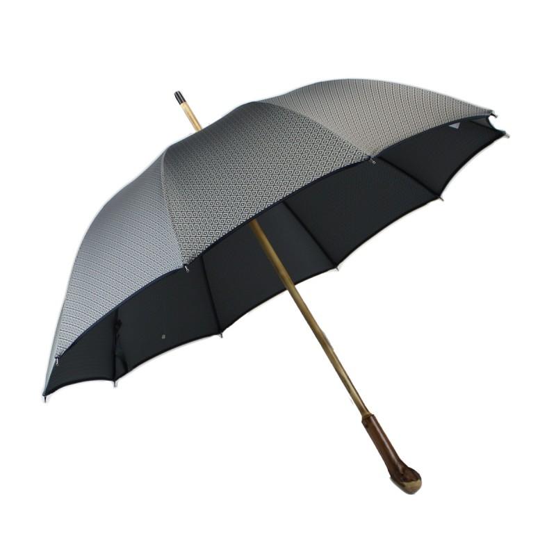 Parapluie anglais racine jacquard carrés gris