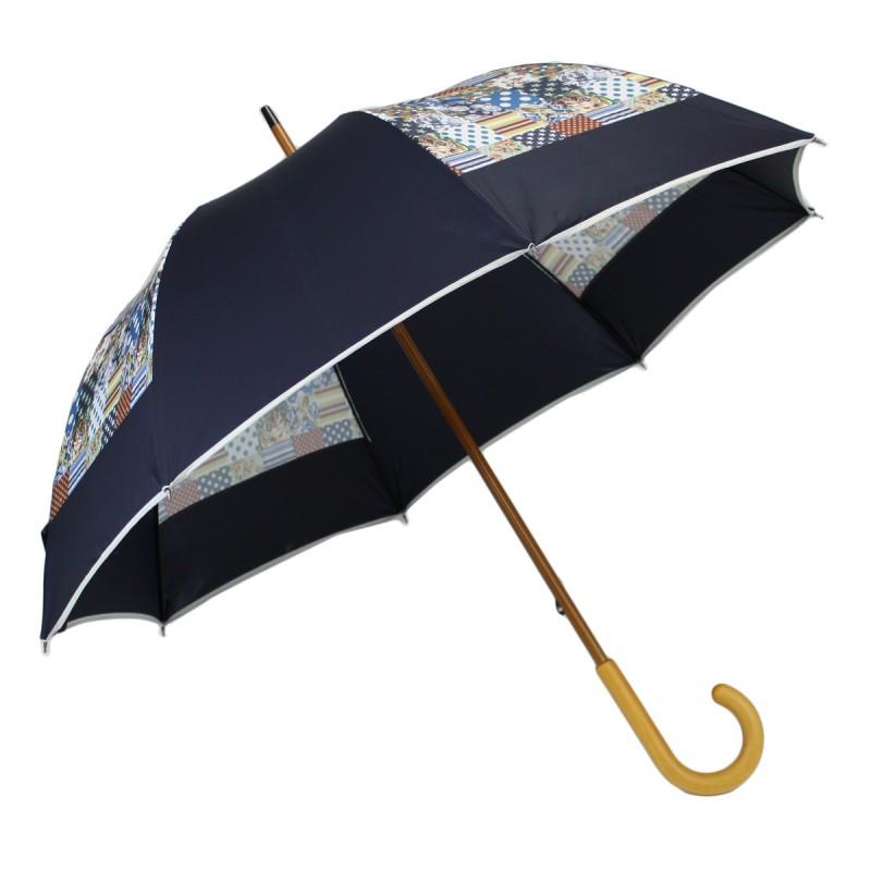 Parapluie long moulin bleu marine et effet patchwork