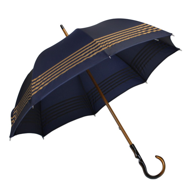 Parapluie médium bleu marine rayé doré